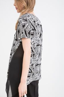 Patterned T-shirt in 100% viscose, Black/White, hi-res