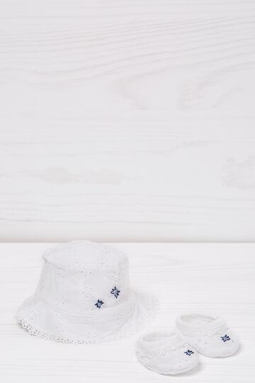 Cotton hat and shoes set, White/Blue, hi-res