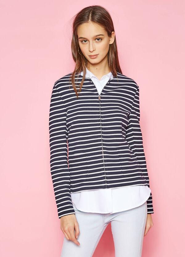 Blazer in cotone stretch a righe con zip | OVS