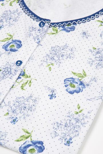 100% cotton floral pyjamas, White/Blue, hi-res