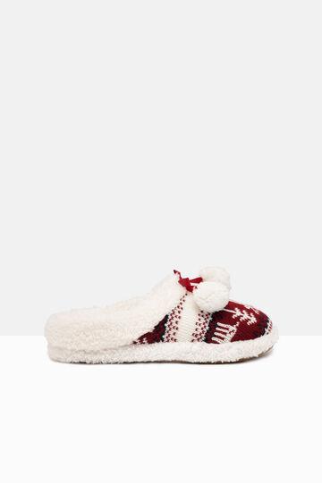 Pantofole tricot con pon pon, Bianco/Rosso, hi-res