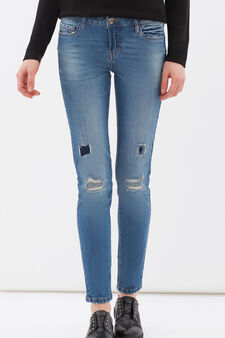Jeans skinny fit effetto used, Blu, hi-res