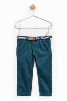 100% cotton trousers with belt, Teal Green, hi-res
