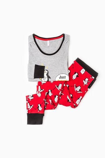 Printed pyjamas in 100% cotton, Grey/Red, hi-res