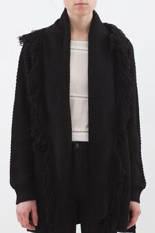 Knitted cardigan with fringe, Black, hi-res