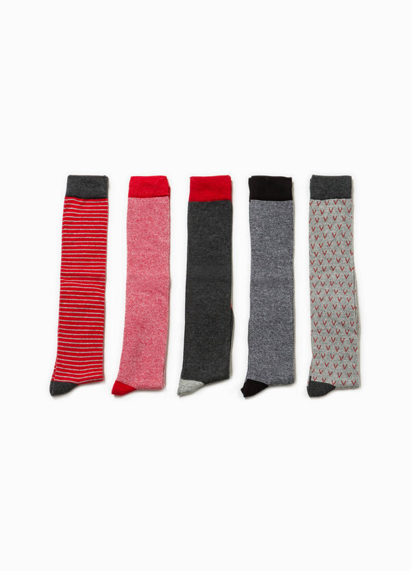 Five-pair pack solid colour and patterned long socks | OVS