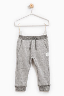Gym pants with drawstring, Grey Marl, hi-res