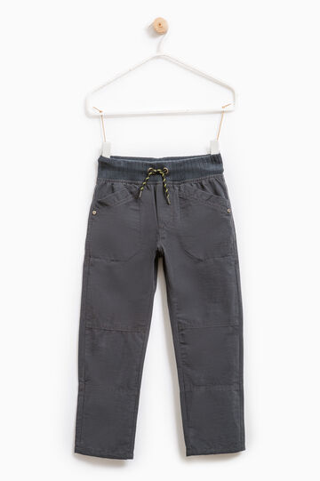 Cotton blend trousers with pockets, Smoke Grey, hi-res