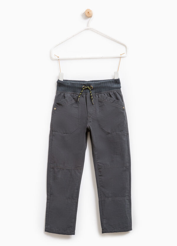 Cotton blend trousers with pockets | OVS