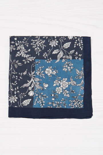 100% cotton floral scarf, Blue, hi-res