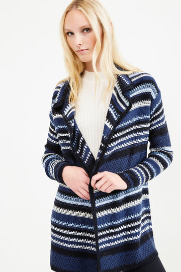 Long cardigan with striped pattern, Blue, hi-res