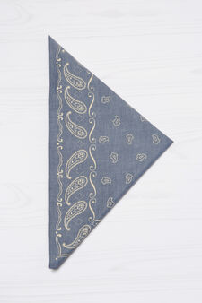 Patterned scarf in 100% cotton, Blue, hi-res