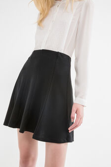Full flared stretch skirt with high waist, Black, hi-res