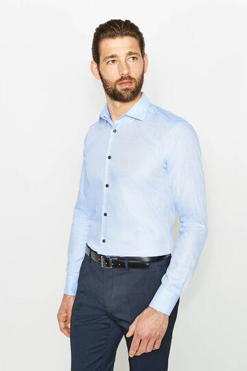 Slim-fit formal shirt with buttons, Soft Blue, hi-res