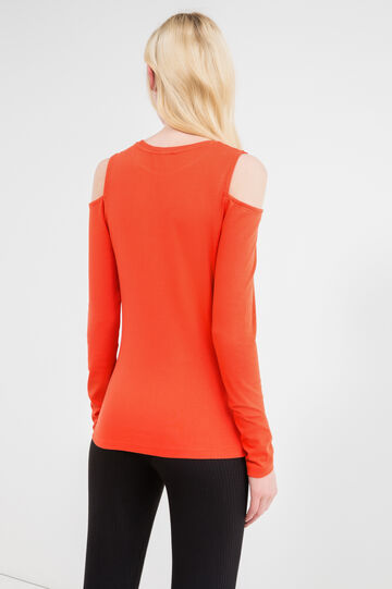 Stretch T-shirt with long sleeves and ribbing, Red, hi-res