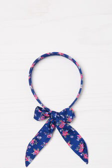 Patterned hairband with laces, Blue, hi-res