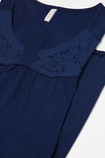 Solid colour cotton nightshirt, Navy Blue, hi-res