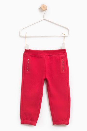Pantaloni tuta strass bordo tasche, Rosso, hi-res