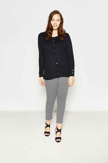 Curvy cotton trousers with pattern, White/Blue, hi-res