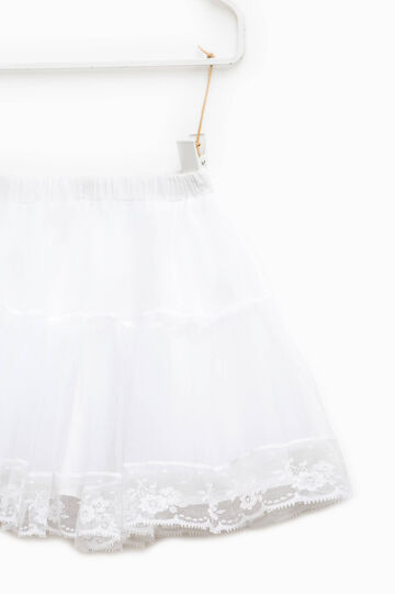 Flounced skirt in tulle with lace