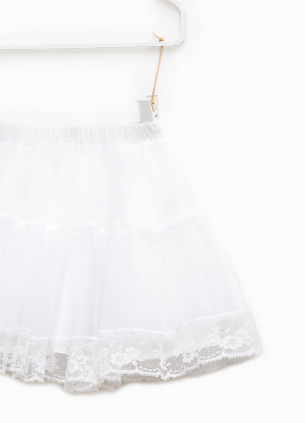 Flounced skirt in tulle with lace | OVS