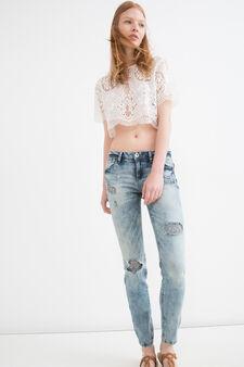 Jeans skinny fit stretch strappati, Blu chiaro, hi-res