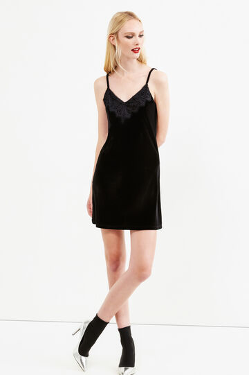 Sleeveless stretch chenille dress, Black, hi-res
