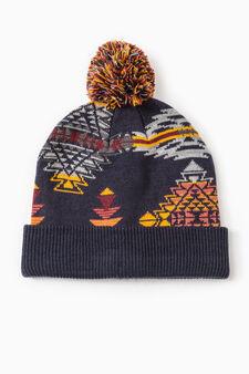 G&H patterned beanie cap, Black, hi-res