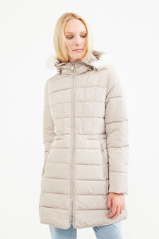 Parka with hood and fur, Light Grey, hi-res