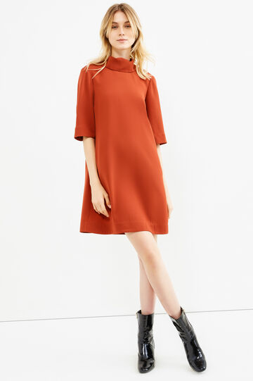 Solid colour short dress with collar, Brick Red, hi-res