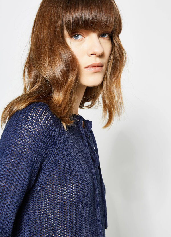 Knitted pullover with tie fastening | OVS