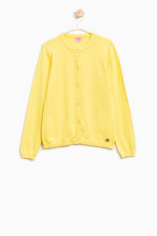Solid colour cotton and viscose cardigan, Yellow, hi-res