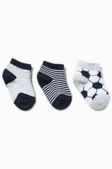 Three-pair pack patterned and solid colour socks, White/Blue, hi-res