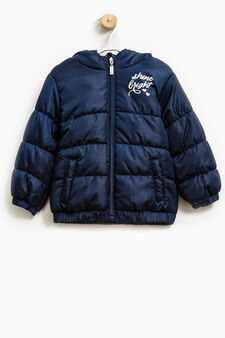 Solid colour down jacket with print, Navy Blue, hi-res