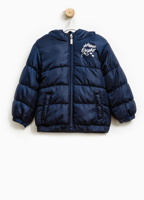 Solid colour down jacket with print | OVS