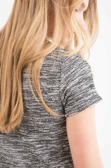 Short dress in stretch cotton blend, White/Black, hi-res