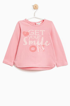 Long-sleeved T-shirt with open on back, Pink, hi-res