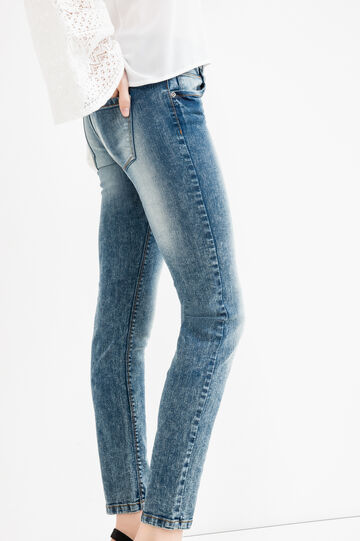 Jeans skinny fit stretch effetto used, Lavaggio medio, hi-res