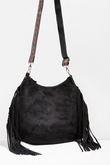 Suede shoulder bag with fringing, Black, hi-res