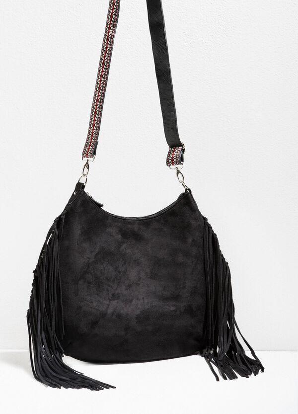 Suede shoulder bag with fringing   OVS