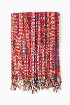 Striped pattern knitted scarf, Red, hi-res