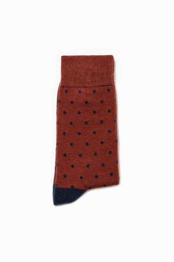 Calcetines cortos de lunares en algodón elástico, Azul/Rojo, hi-res