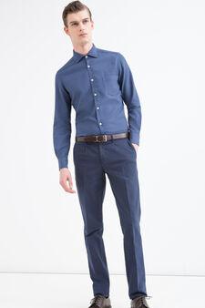 Rumford solid colour cotton shirt, Dark Blue, hi-res