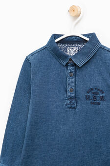 100% cotton embroidered polo shirt, Blue, hi-res