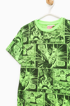 T-shirt with all-over Hulk print, Green, hi-res
