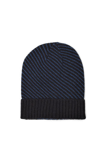 Ribbed beanie cap with brim, Navy Blue, hi-res