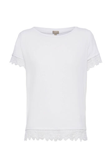 Smart Basic stretch lace T-shirt, White, hi-res
