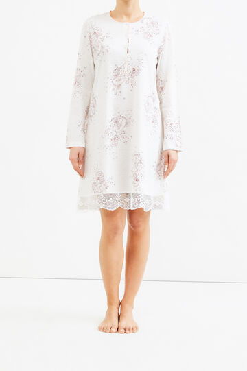 Floral nightshirt with lace, White, hi-res