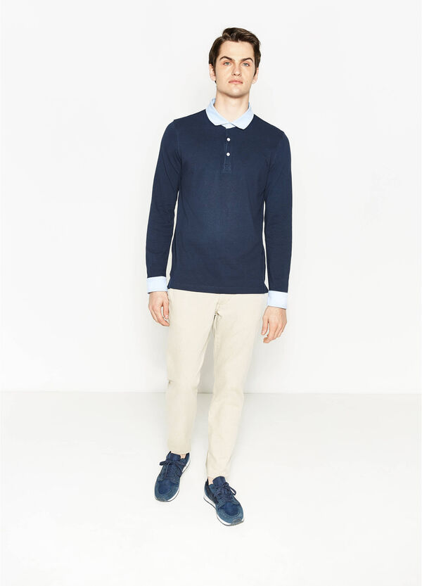 Polo shirt with contrasting colour collar and cuffs | OVS