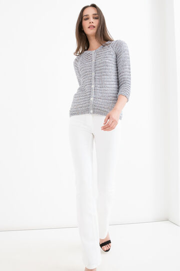 Cotton blend knit cardigan, Denim, hi-res